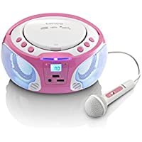 Lenco Kinder CD-Player SCD-650 mit Mikrofon, Karaoke-Funktion und Lichteffekten (CD / MP3, USB, AUX, LCD-Display, UKW Radio), rosa/weiß