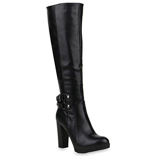 Stiefelparadies Gefütterte Damen Schuhe Stiefel High Heels Holzoptikabsatz Elegant 153207 Schwarz...