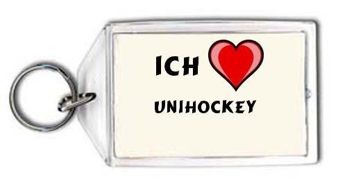 Preisvergleich Produktbild Schlüsselhalter mit Aufschrift Ich liebe Unihockey (Sport)