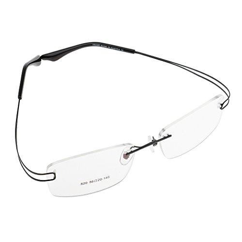 CUTICATE Leichte Metall Flexible Randlose Optische Brillen Geschäftsbrillen - Schwarz