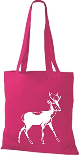 Shirtstown Stoffbeutel Tiere Rehbock, Reh pink