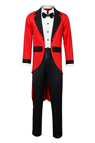Kinder Kostüm Ring Master - Funhoo Herren Zirkus-Kostüm PT Barnum Red Circus Ring Master Ringmaster Showman Tailcoat Jacke Outfit Fancy Dress Gr. S, rot/Black