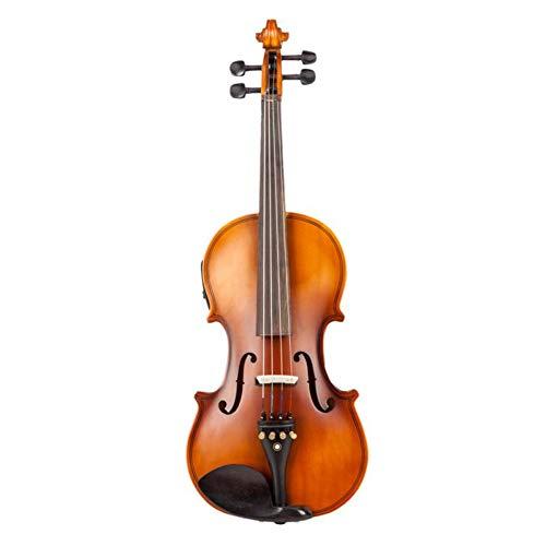 ZGHNAK Matt/Schwarz 4/4 Full Size Massivholz Akustik EQ Elektrische Violine Geige Kit mit Bogen Hard Case Schulterstütze Tuner Kabel Kolophonium - 4 Elektrische
