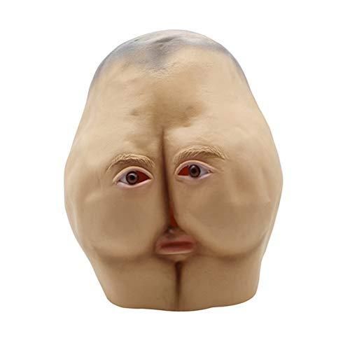 TTXLY Halloween Erwachsene Lustige Maske Ass Styling Party Ordentlich Requisiten Latex Maske Tanz Horror Kopf Brötchen Party Dekorieren Lustige Vollmaske - Ass Latex