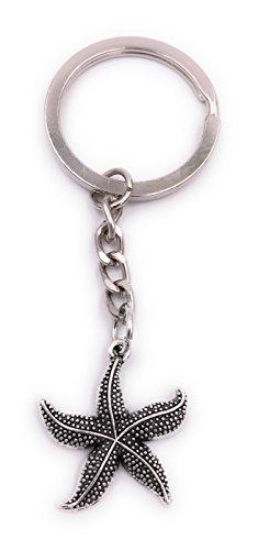 H-Customs Seestern Schlüsselanhänger Anhänger Silber aus Metall (Seestern Schlüsselanhänger)