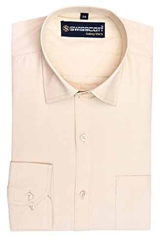 Swisscott Cotton Slim Fit Formal Shirts ( 15 Colours ) (40, Beige)