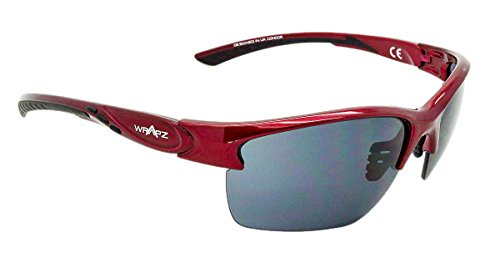 WrApz Condor - Performance Golf and Sports eyewear - Burgundy Red TR90 Frame - Smoke Lens