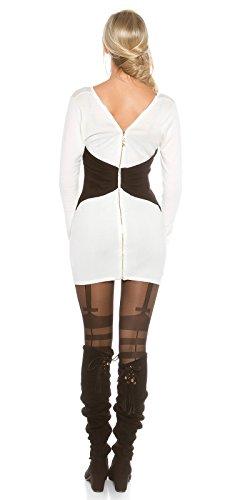 Koucla Femmes 2Way Robe tricotée Mini robe Fermeture éclair Long Pull Blanc