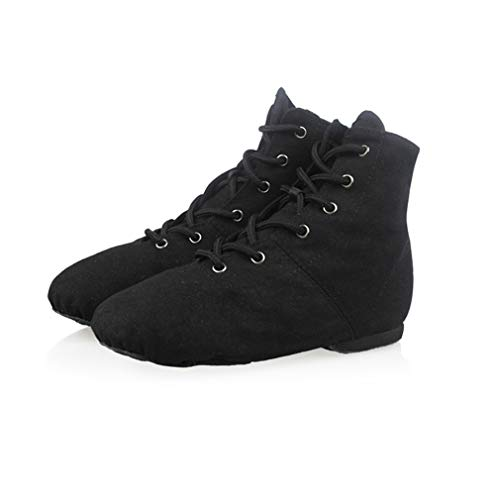 YAN Ladies Dance Shoes Canvas Adult Children es Soft Bottom Lace Up Jazz Shoes Black Low Heel Gym Schuhe High-Top Dance Schuhe,Black,39 -