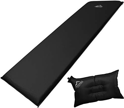 normani Selbstaufblasbare Luftmatratze inkl. Kissen zum Outdoor Camping Farbe Schwarz/Grau Größe 200 x 70 x 15 cm
