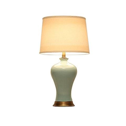 YUAN JIAN Lampe de table en céramique en céramique en bronze de style européen Lampes de chambre Lampe de chevet Eclairage E27 de style européen (37 * 62cm)