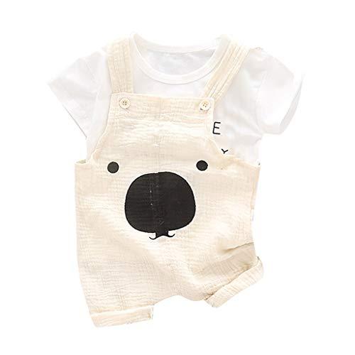 aiyvi 2 pcs Set Tops Kurze Hosen Strampler Outfits Set,6 Monate-3 Jahre Kleinkind Baby Jungen Sommer Outfits Short Ärmel Shirt + Suspenders Shorts Set Casual