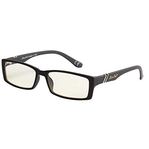 KOMNY Blu-ray Lesebrille Lesebrille Anti-Blau-Linse Brille PC-Material Full-Frame-Brille L6500 schwarz 100 Grad, A + 250