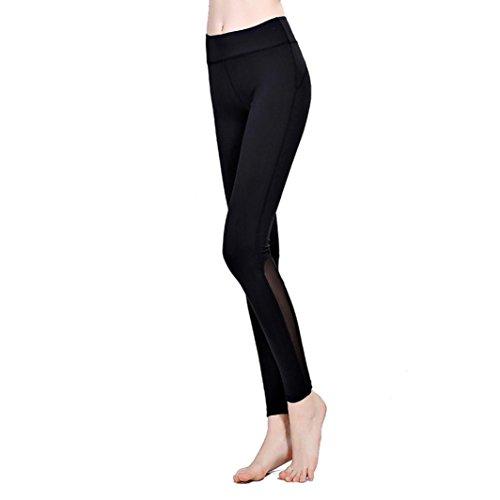Pantalons pour femmes,Tonwalk Taille haute Yoga/Workout/Fitness/Running Leggings Pantalon coupe-vent extensible Noir