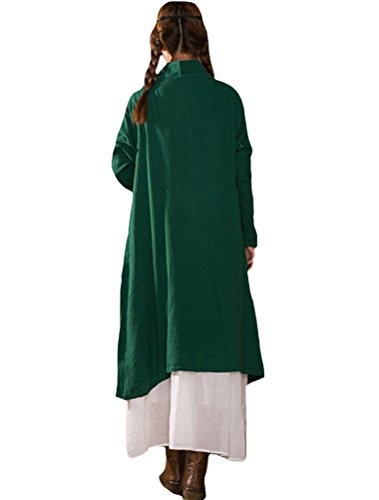 MatchLife Damen Neu Frühjahr Revers Taste Shirt Top Grün