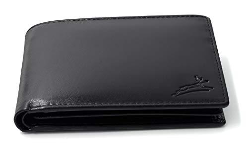 Fa.Volmer ® Praktische Schwarze Ledergeldbörse aus glattem Leder mit RFID-Schutz #SQ15111 - Schwarz Geldbeutel Leder