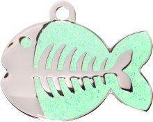 Bow Wow Meow Engraved Fashion Green Sparkle Fish Cat Tag- dispatched within 24 hours, lifetime guarantee against fading, ENTER YOUR ENGRAVING INSTRUCTIONS AS A GIFT