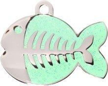 Pet-Tags Bow Wow Meow mit Personalisierung Grüne Katzenmarke glitzernder Fisch (Klein) | GRAVURSERVICE | Personalisierte, moderne Design-Haustiermarken