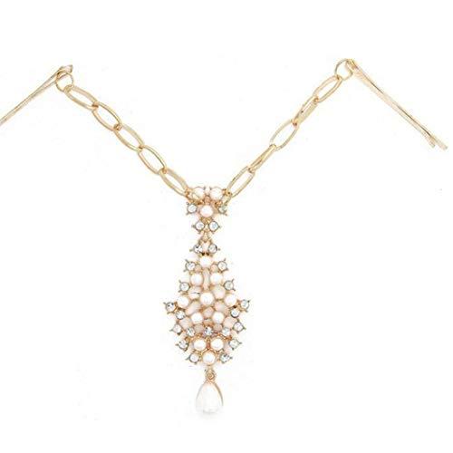 Frauen Strass Brauthaar-Kette Perle Stirn Kopfstück Kristall Hochzeit Indian Head Schmuck für Mädchen Haarschmuck