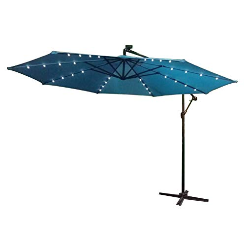 LARS360 Ø300cm Aluminium Sonnenschirm Mit Solar LED Marktschirm Balkonschirm Gartenschirm Ampelschirm Kurbelschirm Gartenschirm UV40+ Schutz (Blau mit Solar LED)