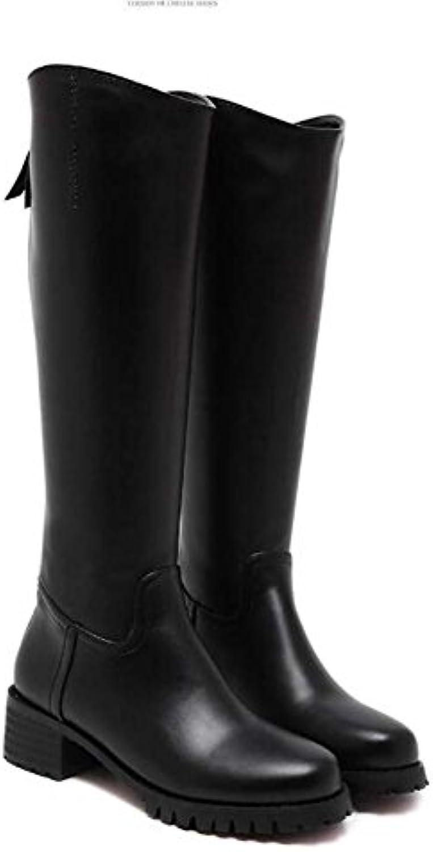 Botas hasta la rodilla 5cm Chunkly Heel Round Knight Boots Hermoso color Pure Zipper Dress Botas Court Locomotora...