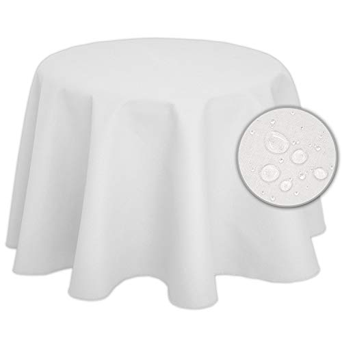Nurtextil24 Tischdecke Leinen-Optik Lotuseffekt (weitere Farben & Größen) Fleckschutz Outdoor Weiß 120 cm Rund (120 Weiße Runde Tischdecke)