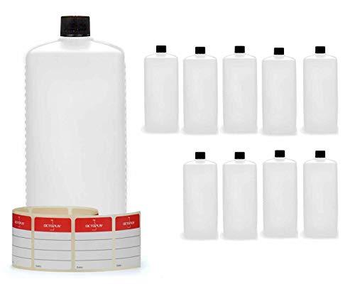 10 x 1000 ml bottiglie in plastica Octopus, bottiglie in plastica HDPE con tappi a vite in nero, bottiglie vuote con coperchi a vite in nero, bottiglie quadre con 10 etichette compilabili incluse