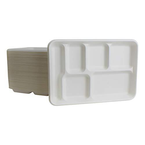 Brheez Einweg Tablett mit 6 Fächern, 22 x 31,8 cm, aus Bagasse, Zuckergussfaser, biologisch abbaubar, kompostierbar und chemisch frei, 50 Stück (Mikrowelle Stand Warenkorb)
