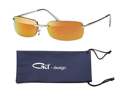 GIL-Design Hochwertige Rechteckige Herren Unisex Matrix Sonnenbrille mit Federscharnier - Radbrille Sportbrille Biker Sunglasses (Orange/Rot)