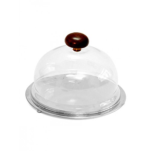 Devnow Bar Stainless Steel Cookie Platter with Acrylic Dome 3.6 inch