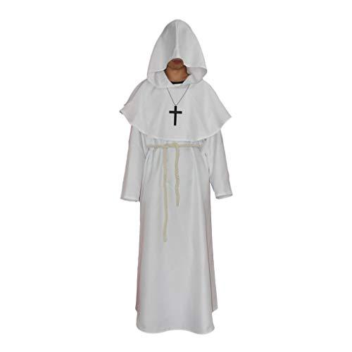 (Minzhi Unisex Kostüm Mittelalterliche Monks Robe Wizard Pastor Christen Kleid)