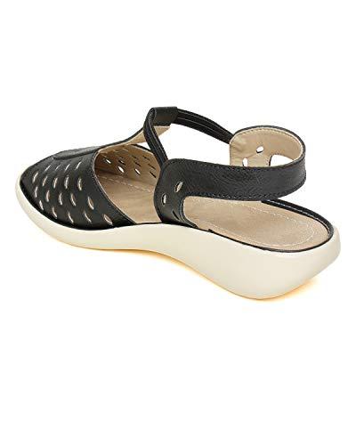 Bella Toes Women's Black Leather Fashion Sandals-8 UK/India (41 EU) (FL-17-BLACK-41)