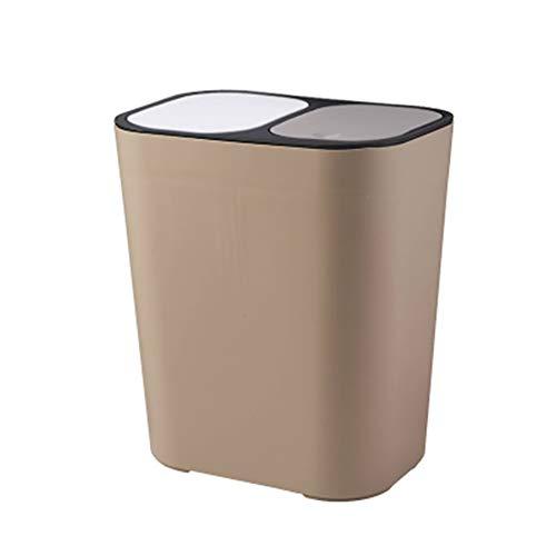 Alftek Abfalleimer Rechteckiger Kunststoff-Druckknopf mit Zwei Fächern 12 Liter Recycling-Abfalleimer Mülleimer