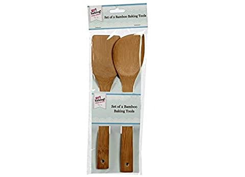 2x en bois Bambou Lot d'accessoires de cuisson Cuillère spatule Grattoir Ustensiles de Cuisine Cook.