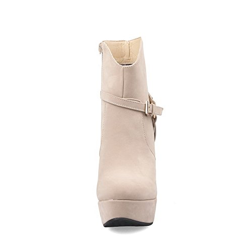 VogueZone009 Damen Hoher Absatz Metallisch Rund Zehe Nubukleder Reißverschluss Stiefel, Cremefarben, 38