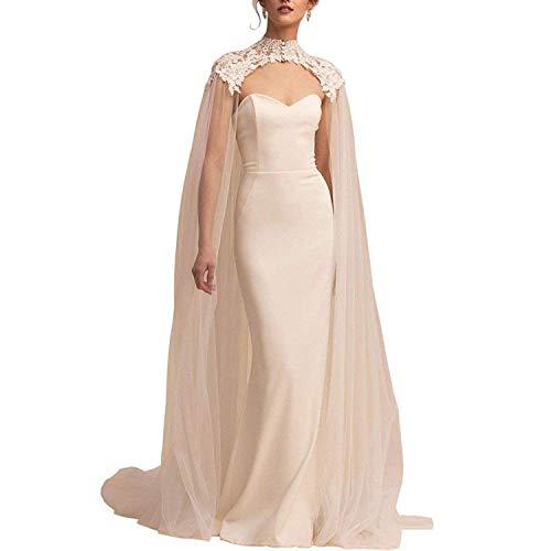 Weiße Spitze Tüll Umlang Lang Hoher Hals Hochzeit Braut Wraps Cape Mantel Schleier (Weiß, 250cm) - Tüll Mantel