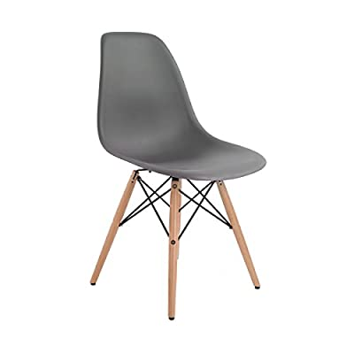 Charles Bentley High Quality Retro Designer Lounge Dining Chair - Grey (Multiple Colours Available)