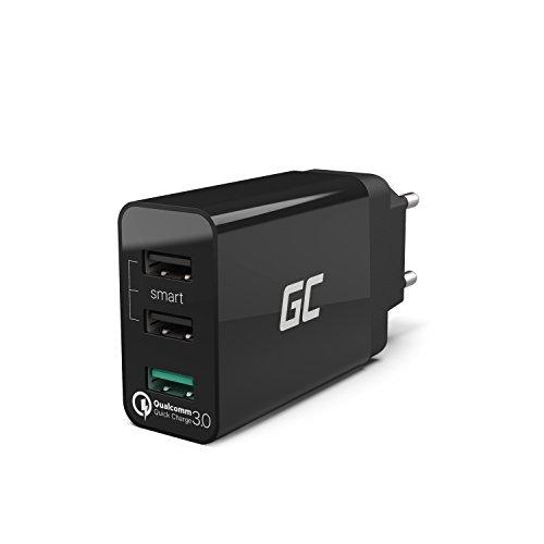 Green Cell 30W 3-Port USB Ladegerät mit Quick Charge 3.0 Schnellladung für iPhone 6 6s 7 8 X SE, iPad, Samsung Galaxy A5 A6 J3 J5 J7 S6 S7 S8 S9 Note 8 9, Huawei P8 P9 P10 P20 Lite Pro Mate 10 und Viele Mehr