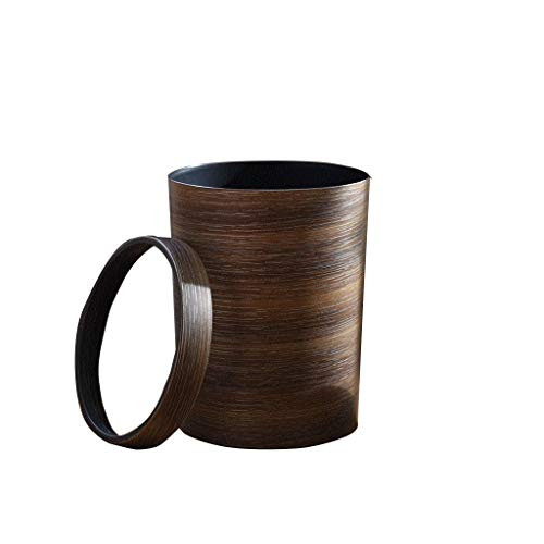 LJ-KK SxsZQ Innen-Mülleimer, Küche Schlafzimmer Badezimmer Mülleimer Coffee Shop Pantry wasserdichte Mülleimer Brown Retro Mülleimer solide (Size : 20 * 20 * 30CM) -