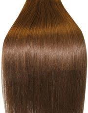 Clip-In-Extensions für komplette Haarverlängerung - hochwertiges Remy-Echthaar - 100 g - 45 cm - Mittelbraun - 6