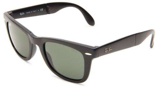 Ray Ban Unisex Rb 4105 Folding Wayfarer Sonnenbrille Polarisiert 54 mm, Schwarz (schwarz/ klassisch grün), 54 mm