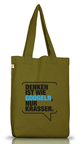 Shirtstreet24, Denken ist krasser, Jutebeutel Stoff Tasche Earth Positive (ONE SIZE) Leaf Green
