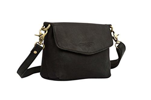HOLZRICHTER Berlin Damen Umhängetasche (S) - Handgefertigte Kleine Handtasche aus Leder - schwarz-anthrazit