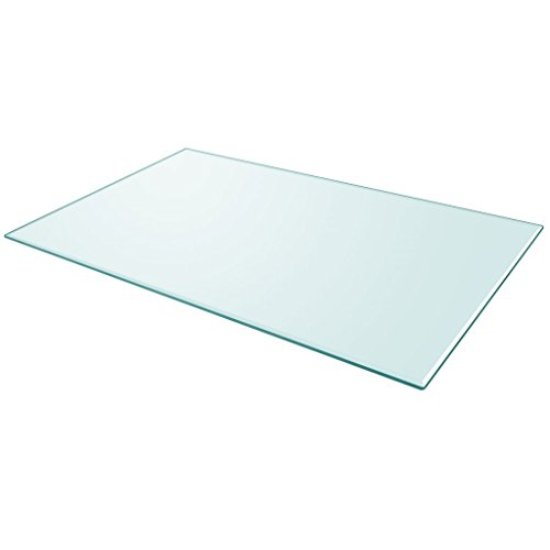 Festnight Tablero de Mesa de Cristal Templado Cuadrado - Color de Transparente Material de Vidrio, 1000x620 mm