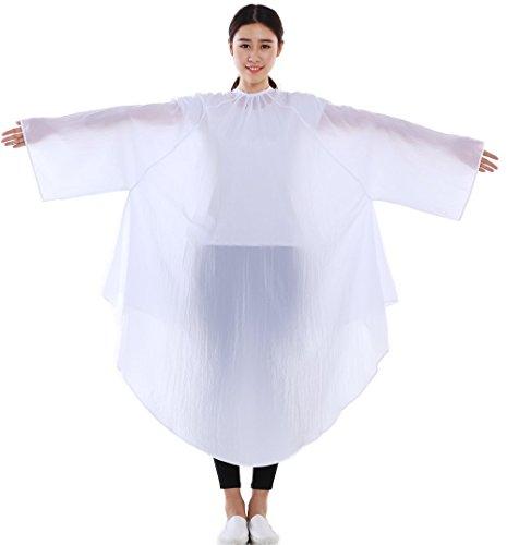 Friseur Salon Haarschneide-Kleid, Friseur Kimono Färbeumhang mit Ärmeln – Farbe: Weiß (Kimono Ärmeln)