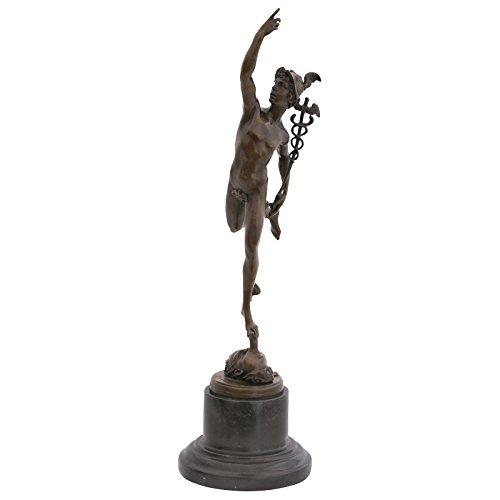 Ellas-Wohnwelt Hermes griechischer Gott Götterbote Bronze Statue Skulptur Deko Akt Mann Figur