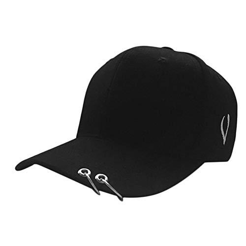 VCB Streetnovelty Unisex Cotton Ring Hoop Pin geschwungene Hut Hip Hop Baseball Cap - schwarz mit 2 Reifen - Schwarze Passform-baseball-hut