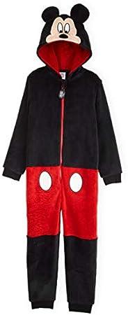 Disney Mickey Mouse Pijama Niño de Una Pieza, Pijama Entero con Capucha y Cola 3D, Pijamas Niños de Forro Pola