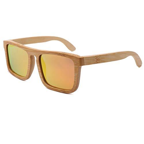 TOOSD Bambus Sonnenbrillen Retro Holzoptik-Brillen - Klassische Holzschirme Damen - Modische Brillen mit Etui polarisierte Gläser,B