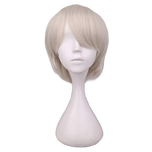 (DDDMMM Kurze Haare Cosplay Perücke Männliche Party 30 Cm Schwarz Blond Weiß Lila Hochtemperaturfaser Synthetische Haarperücken)